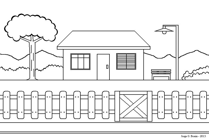 arte no paint desenho para colorir uma casa