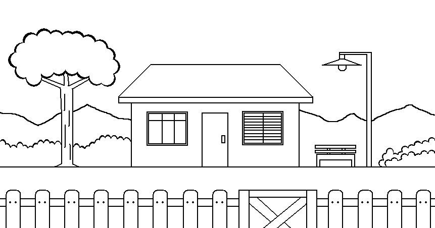Arte no paint desenho para colorir uma casa - Pintar las puertas de casa ...