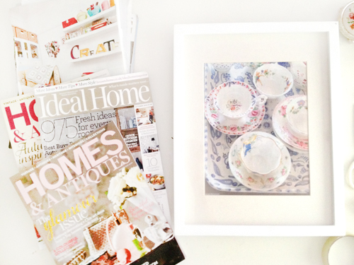 Magazine+tear+outs+in+a+frame+vintage+tea+cups+and+saucers Organizing My Magazine Collection and Using as Wall Art | Magazine Tear Outs In Frames