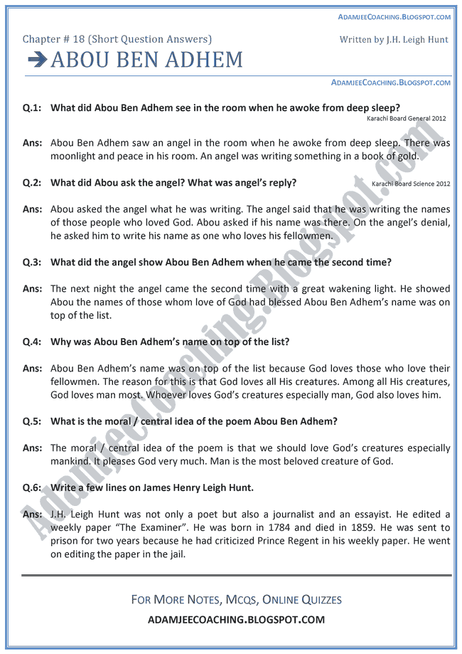 Abou-Ben-Adhem-Short-Question-Answers-English-IX