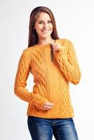 Pulover tricotat modern, de culoare galbena ( )