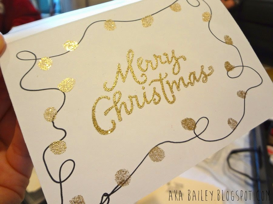 Gold embossed Merry Christmas holiday card