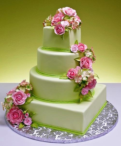 Green Wedding Cake With Rose Flower
