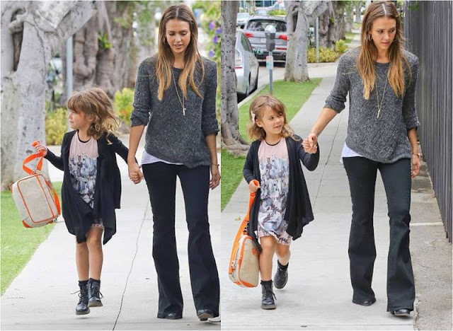 Jessica Alba walked her daughter to school in Level 99