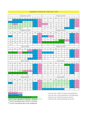 Calendario Infantil, Primaria, Secundaria 2015-2016