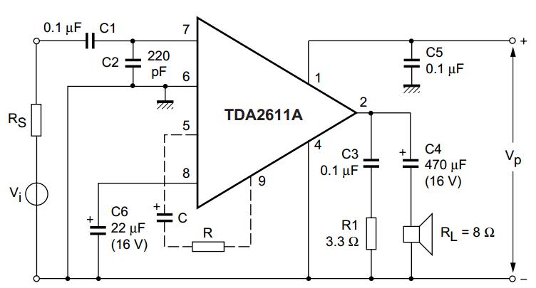 tda2611a 5 w audio power amplifier