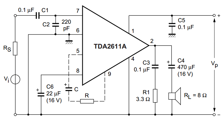 tda2611a 5 w audio power amplifier