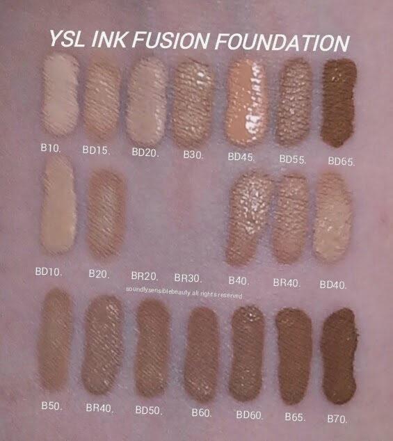 YSL Fusion Ink Foundation; Review & Swatches of Shades B10 Porcelain, BD15 Warm Buff, BD20 Warm Ivory, B30 Almond, BD45 Warm Bisque, BD55 Warm Praline, BD65 Warm Toffee, BD10 Warm Porcelain, B20 Ivory, BR20 Cool Ivory*, BR30 Cool Almond*, B40 Sand, BR40 Cool Sand, BD40 Warm Sand B50 Honey, BR50 Cool Honey**, BD50 Warm Honey, B60 Amber, BD60 Warm Amber, B65 Toffee, B70 Mocha