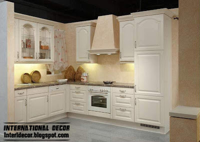 white kitchen cabinets with classic design, wood kitchen cabinets