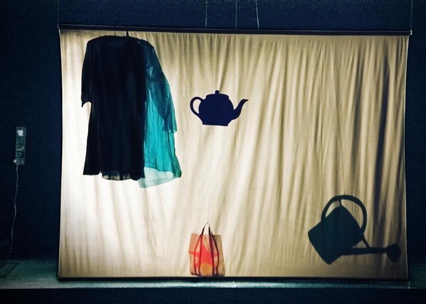 Instalação composta por um pano rectangular suspenso do tecto no qual estão projectadas imagens de objectos: à esquerda dois vestidos em cruzetas, ao centro em baixo e saco, ao centro em cima um bule e no canto inferior direito um regador