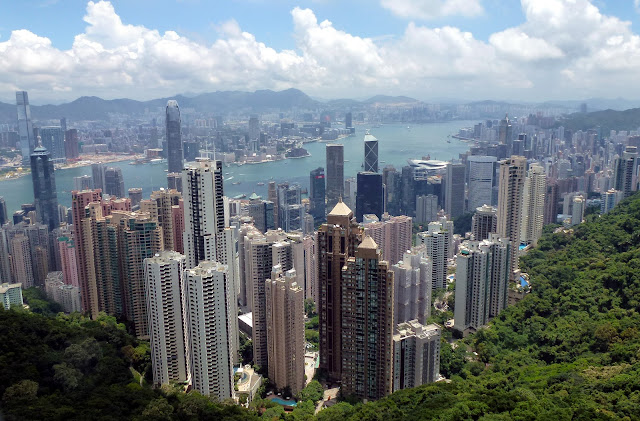 A view from the top of Victoria's Peak in Hong Kong