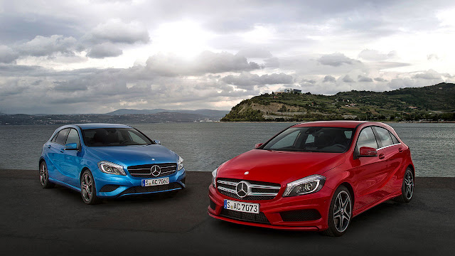 The Mercedes-Benz A-Class blue and red