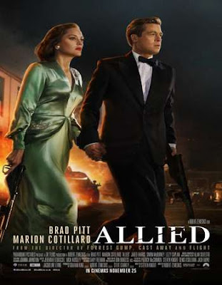 Poster Of Free Download Allied 2016 300MB Full Movie Hindi Dubbed 720P Bluray HD HEVC Small Size Pc Movie Only At pugbet212.com