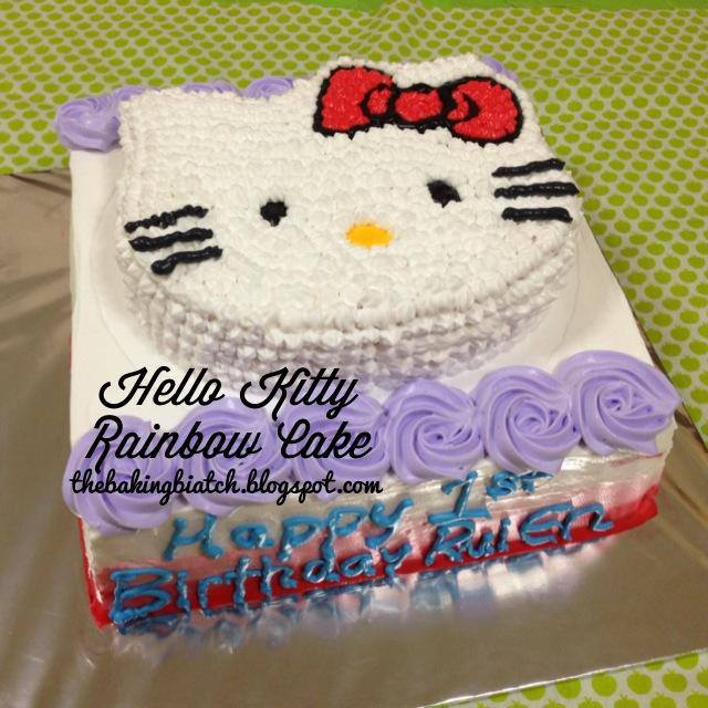 I Made A Hello Kitty Cake With This 10 Square Rainbow Cake As A Base With A 7 Carved Hello Kitty Cake On Top This Tutorial Recipe Will Be For The