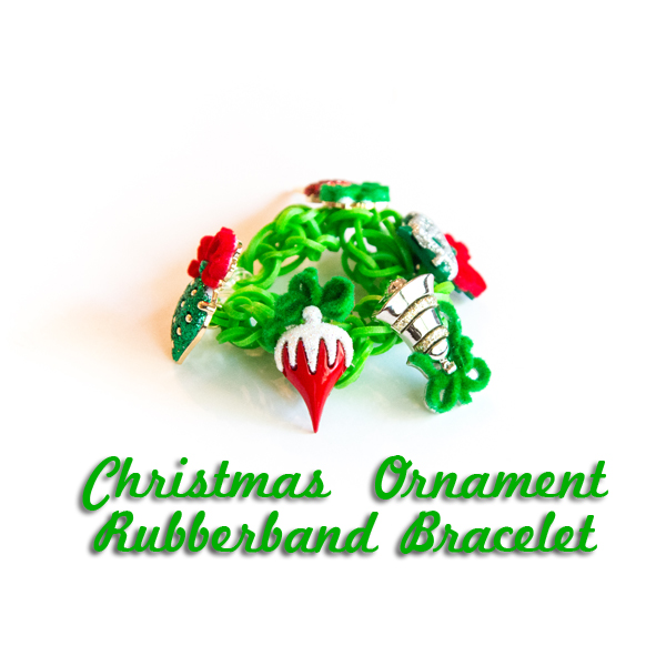 Christmas Ornament Rubberband Bracelet @craftsavvy @createoften #craftwarehouse #rubberbandbracelet #noloom #loombands #diy #christmas