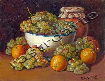 Bodegón con bol de cerámica, uvas, naranjas y tarro para miel