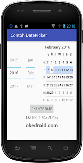 Hasil Widget DatePicker Android