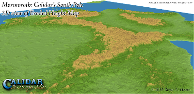 Mormoroth: Calidar's South Pole, 3D View of Eroded Height Map