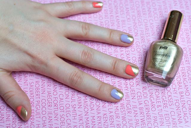 pastel gold asymmetrical manicure