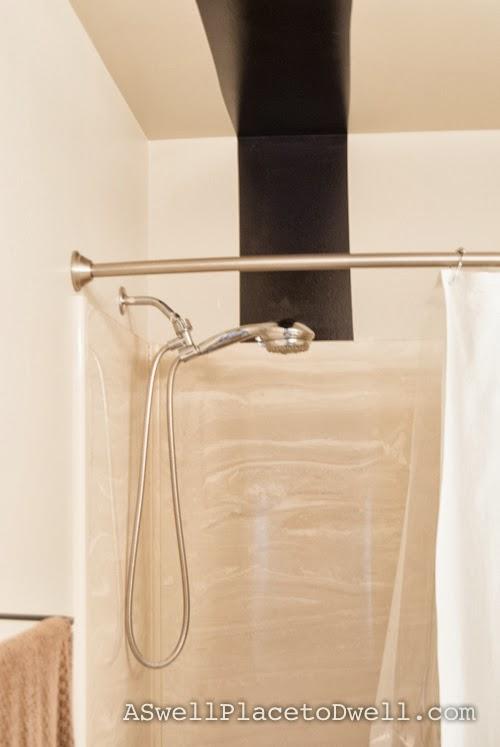 high gloss black stripe in bathroom