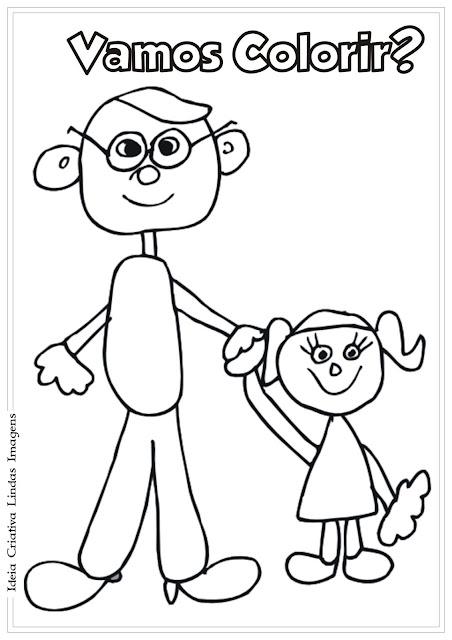 Desenho Pai e filha para colorir - Dia dos Pais para colorir