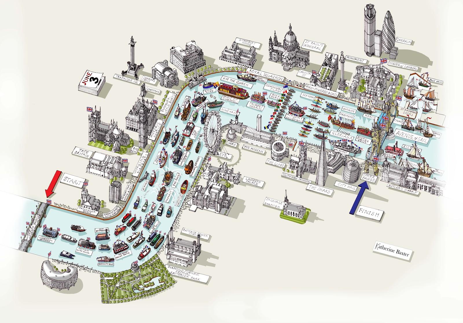 Katherine Baxter illustrator Map of London River Thames