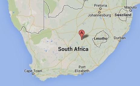 Location of Jagersfontein, site of Willem Hertzog's birth.