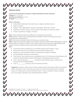 Middle and High School English Lesson Plans-Vocabulary Teacher Notes