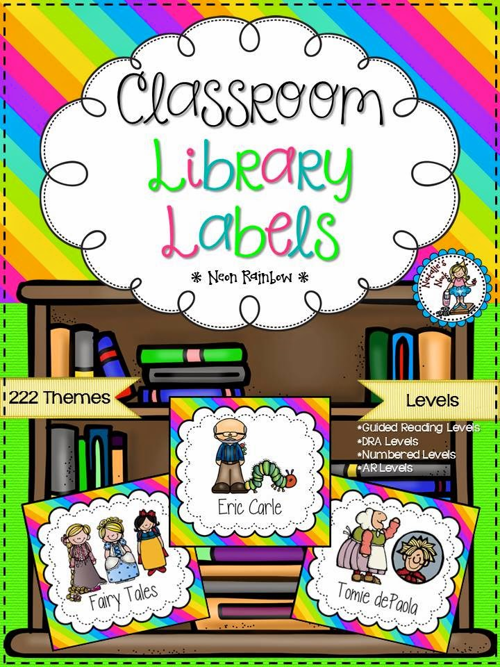 http://www.teacherspayteachers.com/Product/Classroom-Library-Labels-Neon-Rainbow-1298896