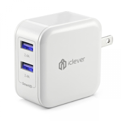 iClever® 4.8A 24W Dual USB Travel Wall Charger with SmartID Technology, Foldable Plug for iPhone iPad, Samsung Galaxy, HTC Nexus Moto Blackberry, Bluetooth Speaker Headset, Power Bank and More