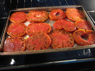 cookie sheet with tomato slices