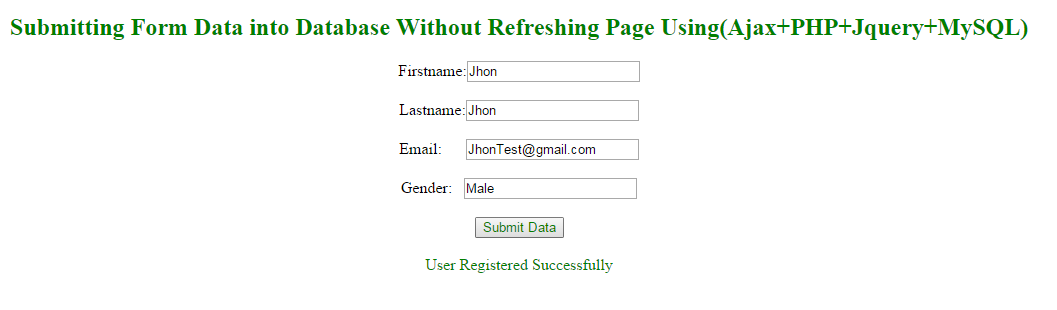 Submitting Form Data into Database Without Refreshing Page Using ...