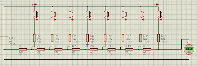 R2R Ladder Resistor Network DAC Proteus simulation