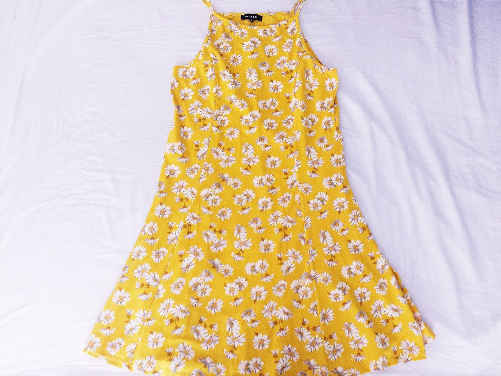 New Look Yellow Floral High Neck Skater Dress