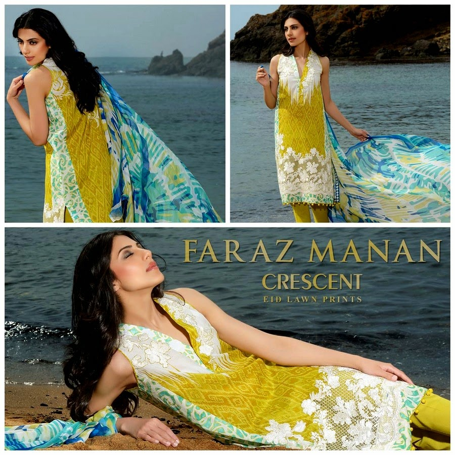 Faraz Manan Crescent Eid Lawn Collection 2014