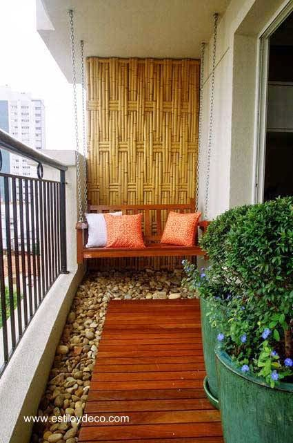 Small balcony functional and decorated