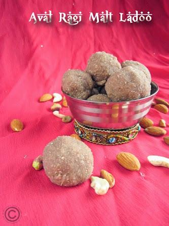 aval ragi malt ladoo - healthy dessert | guest post by vijayalakshmi of virunthu unna vaanga