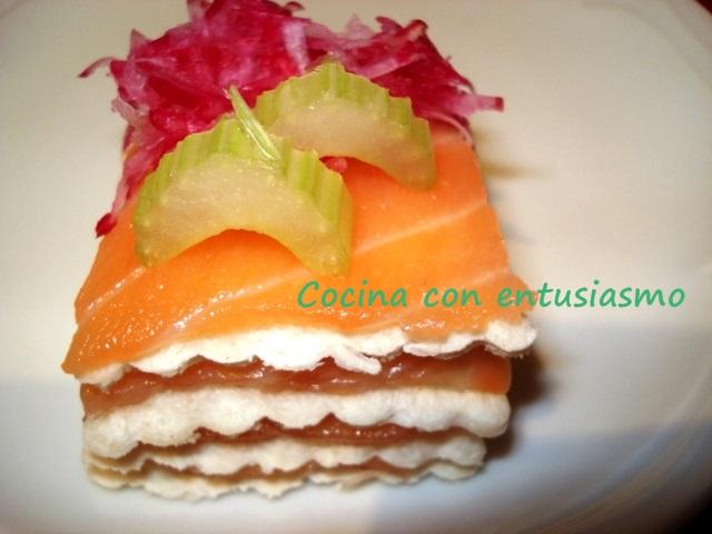 Cocina con entusiasmo canap de salm n ahumado con for Canape de salmon ahumado