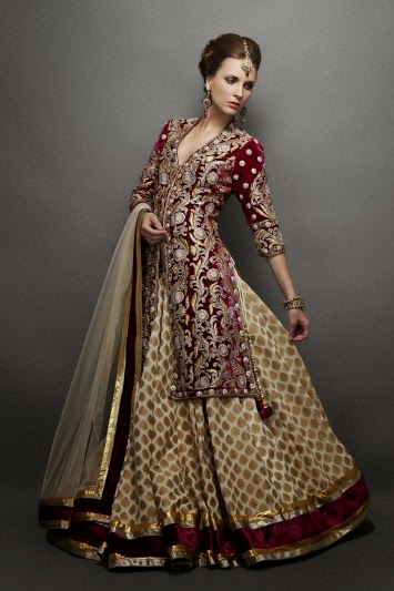 Cream Lehenga with Wine Jacket