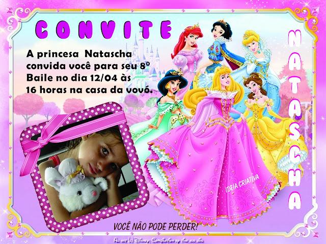 Convite Princesas Disney