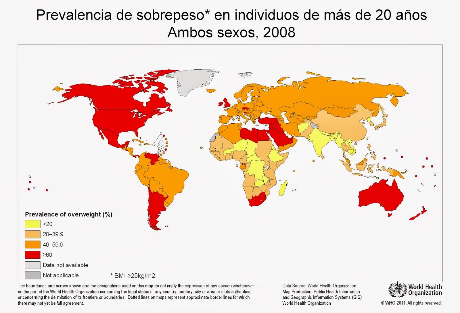 Mapa mundi del sobrepeso por países