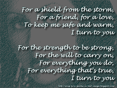 I Turn To You - Christina Aguilera Song Lyric Quote in Text Image