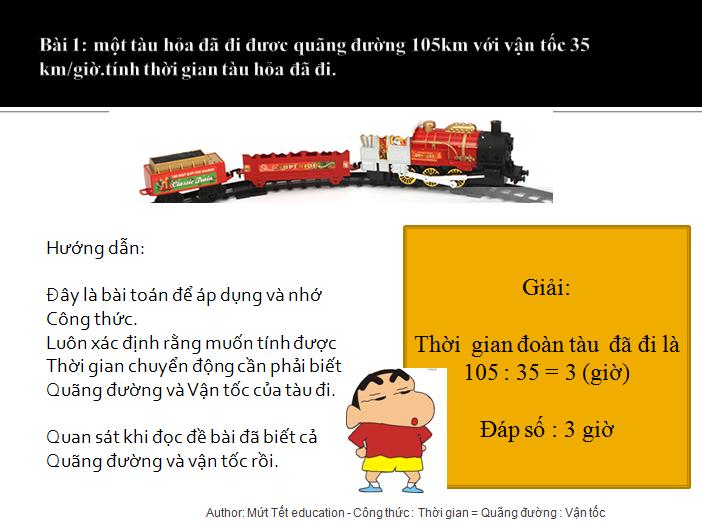 Bài tập tính thời gian trong chuyển động đều - toán lớp 5(3)