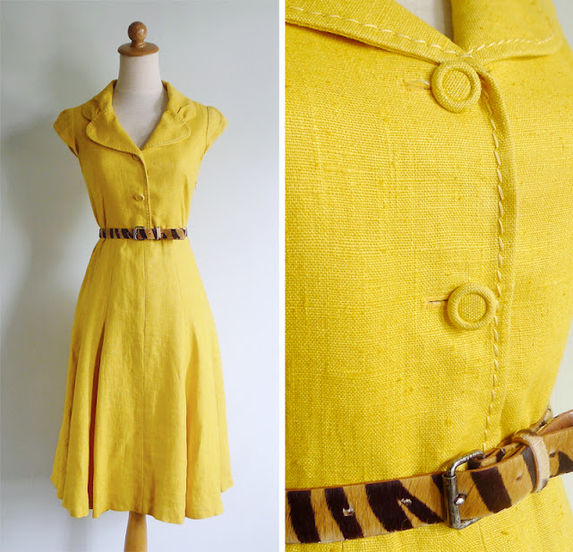 vintage bombshell yellow dress