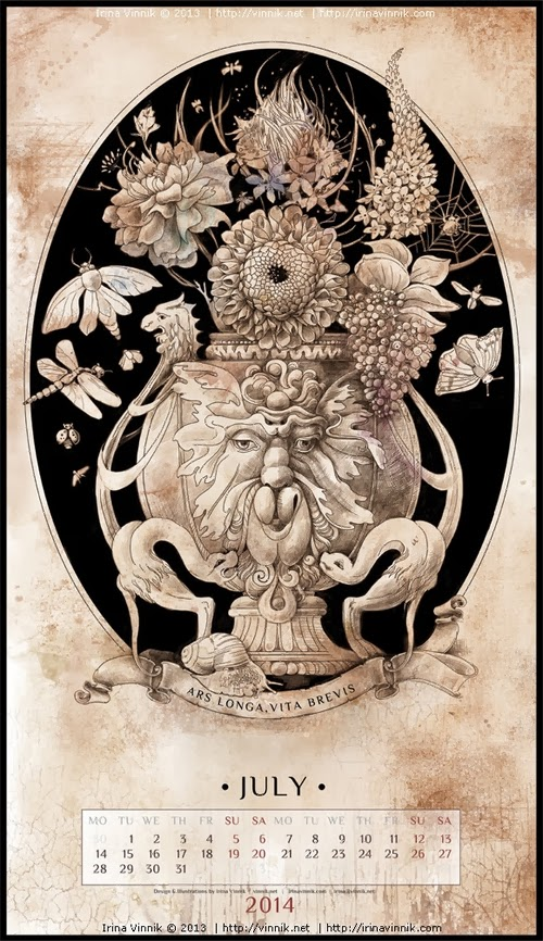 07-July-Irina-Vinnik-2014-Bestiary-Calendar-Design-www-designstack-co
