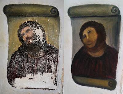 restauration peinture christ espagne massacre