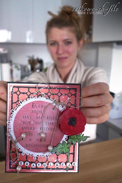 Sheena victorian floral poppy , Evik, handmade card,