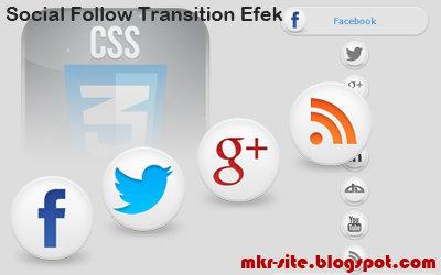 Sociais botões de mídia com efeitos de transição