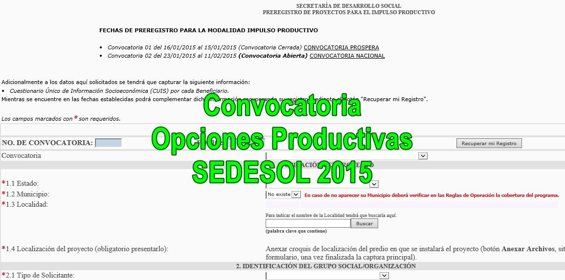 Ventanillas proyectos productivos SEDESOL 2015