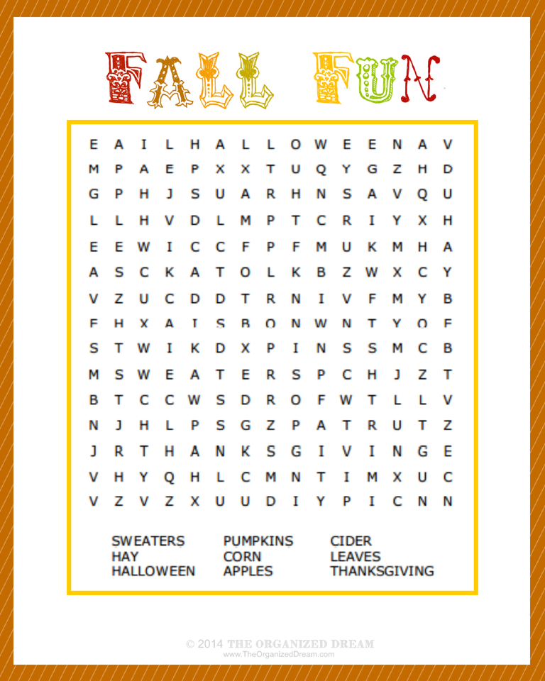 photo regarding Fall Word Search Printable called Absolutely free Drop Printables Section 1: Little ones Functions - The
